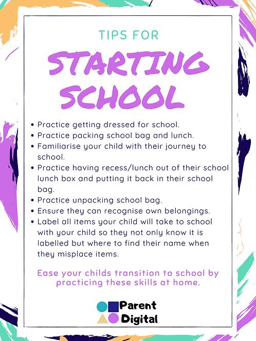 Tips for Starting School Poster