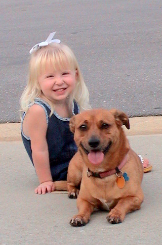 Ruby and her best girl on the driveway