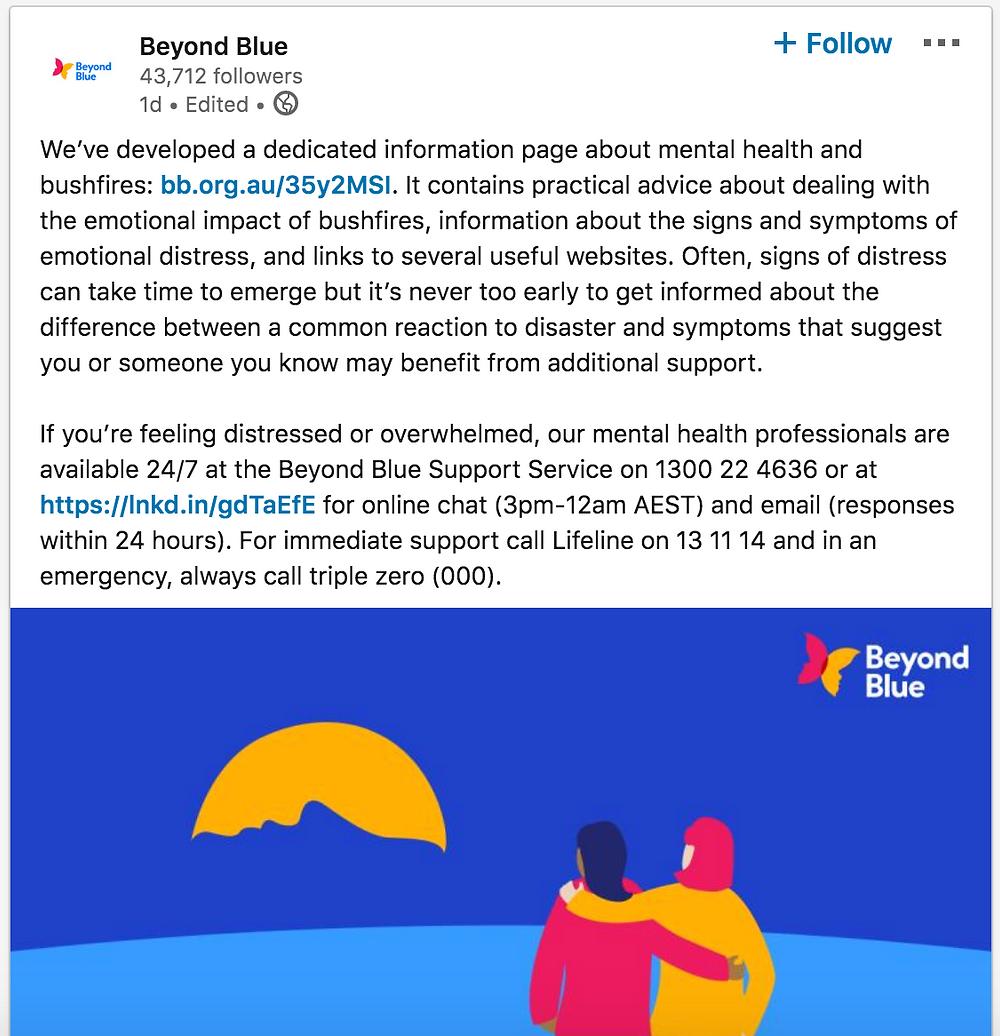 Beyond Blue LinkedIn Post - Bushfires