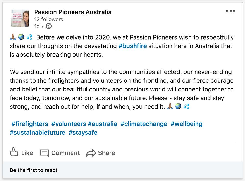 Passion Pioneers - LinkedIn Post Bushfires