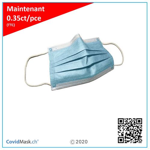 Masques de protection 3 plis médical (20 unités), EN 14683:2019