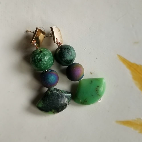 Chrysoprase and Geode Earrings (Gold)