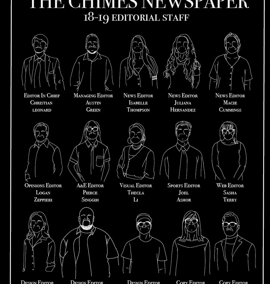 Chimes Staff Board Illustration by Thecla Li // CHIMES Newspaper
