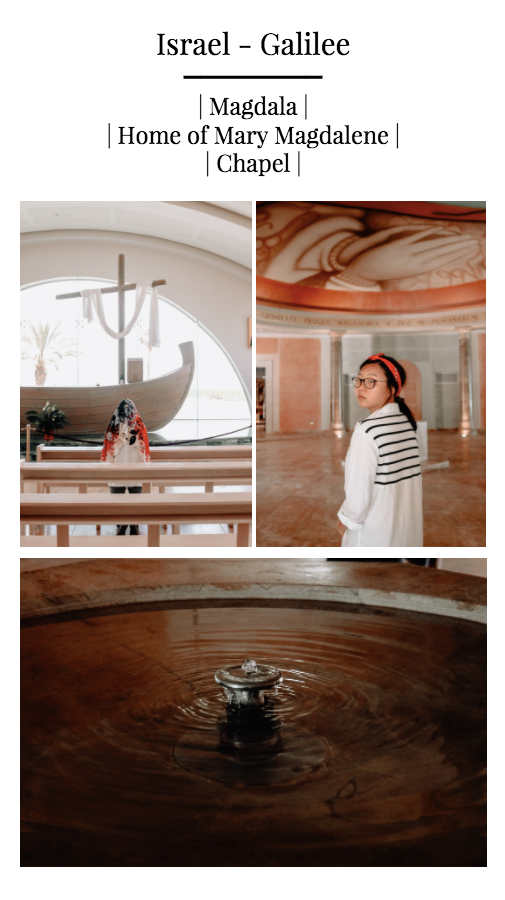Pictured: My Mother praying in the Boat Chapel & My Sister in the Women's Atrium.