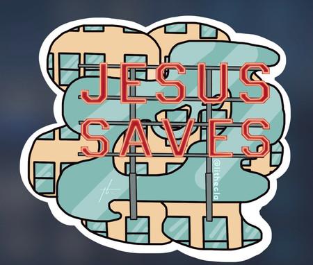 Biola University Jesus Saves Sign Sticke