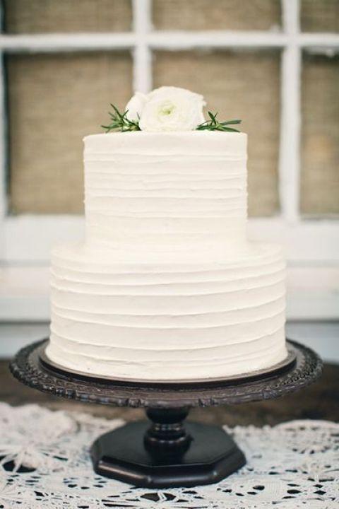 5- White Wedding Buttercream Cake