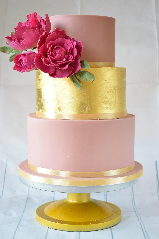 Gold leaf peony wedding cake by Sugar High Cakes