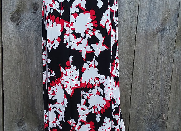 A-Line Skirt Black, Red & White floral (ITY knit)