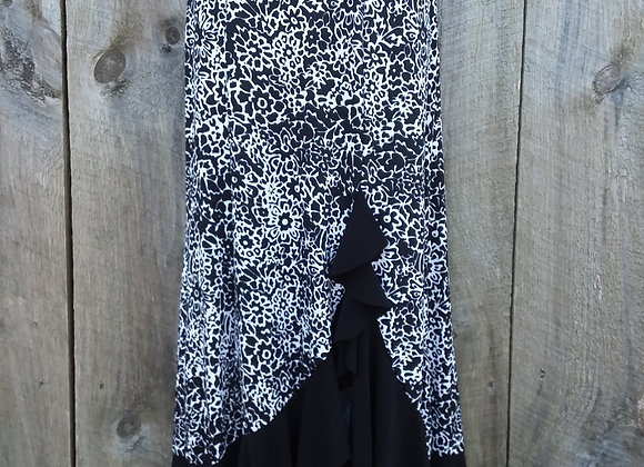 Ruffle Skirt Black & White Abstract (ITY Knit)