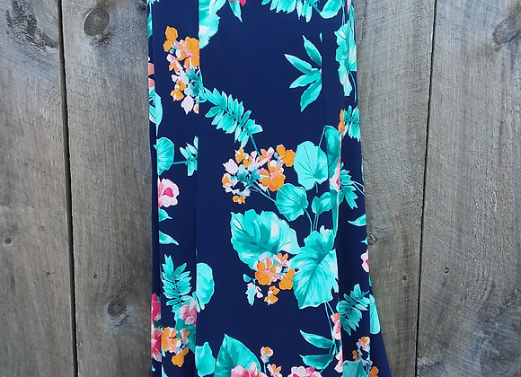 A-Line Skirt Navy/Mustard/Teal floral (ITY knit)