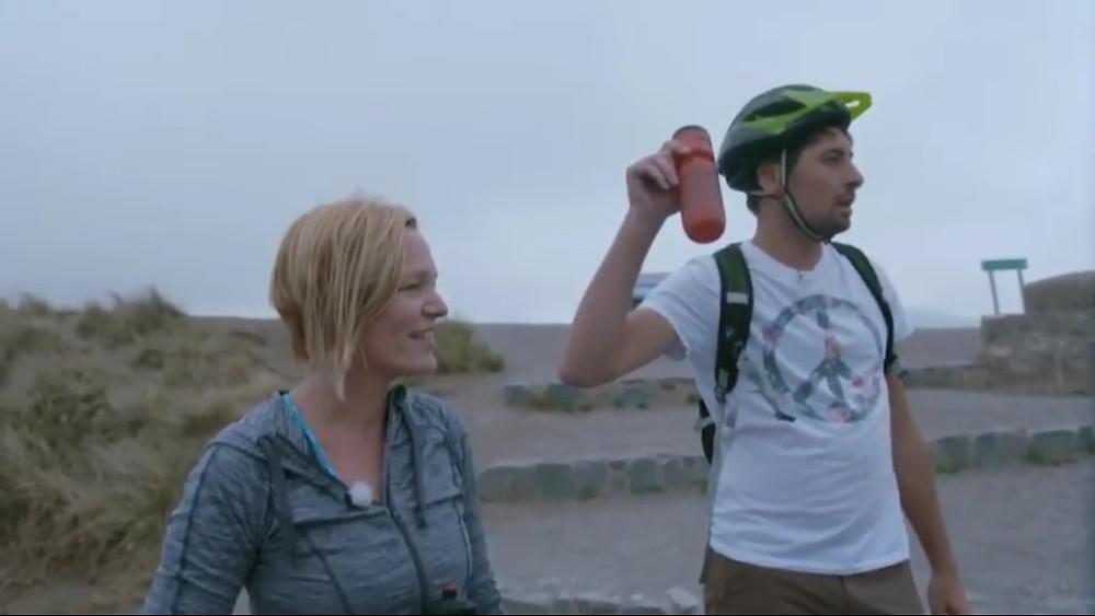 Cathy en Gilles bij de fietsproef
