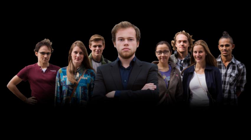 De kandidaten en presentator van Wie is de Mol? Student