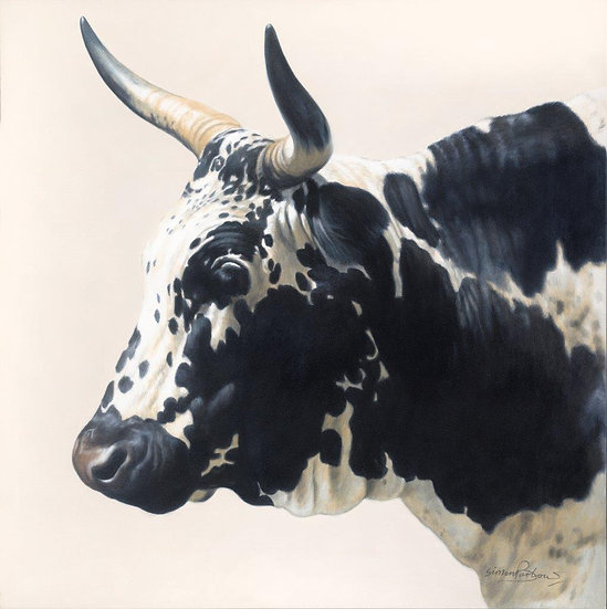 Black and White Cow I giclee print, editions of 50 (canvas), 20 (paper