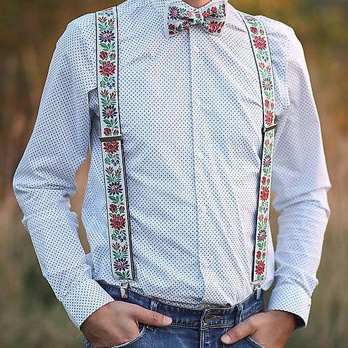 Handmade Folklore Suspender & Bow Tie Set for Men