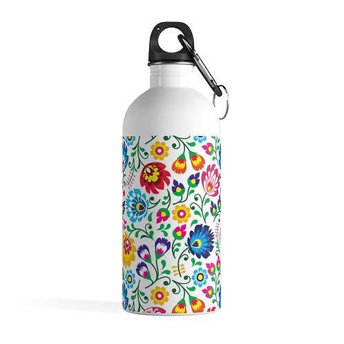 Slavic Floral Print Stainless Steel Water Bottle
