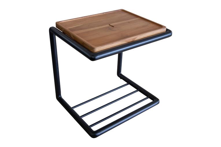 Mesa lateral com tampo em madeira Cool