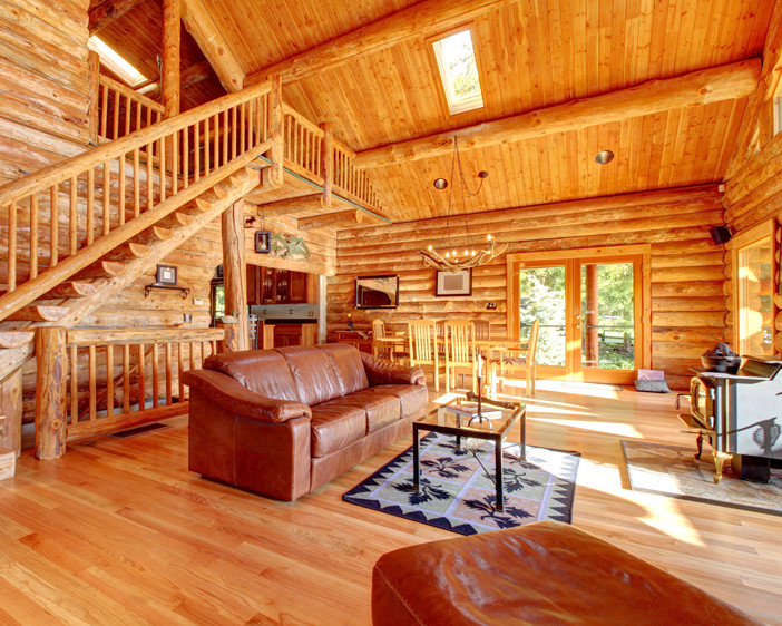 Living room in large cabin in Mammoth Lakes, California