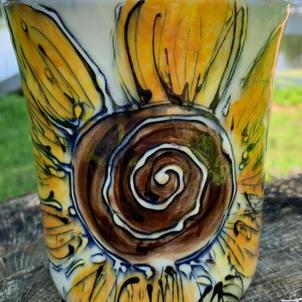 Porcelain Sunflower Utensil Jar