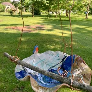 Birdbath with Bluebird
