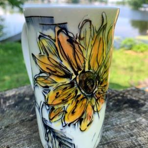 Porcelain Sunflower Mug