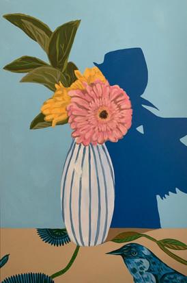 Pink Gerbera Daisy in Striped Vase