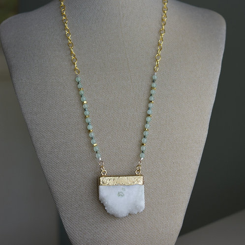 white raw quartz & green adventurine