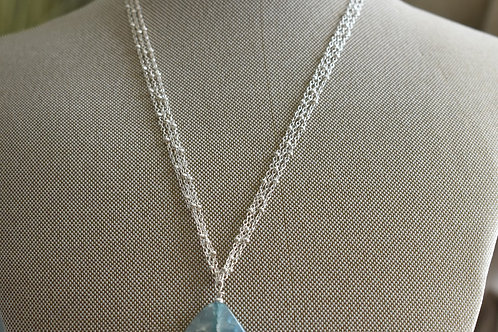 aqua quartz drop & sterling silver