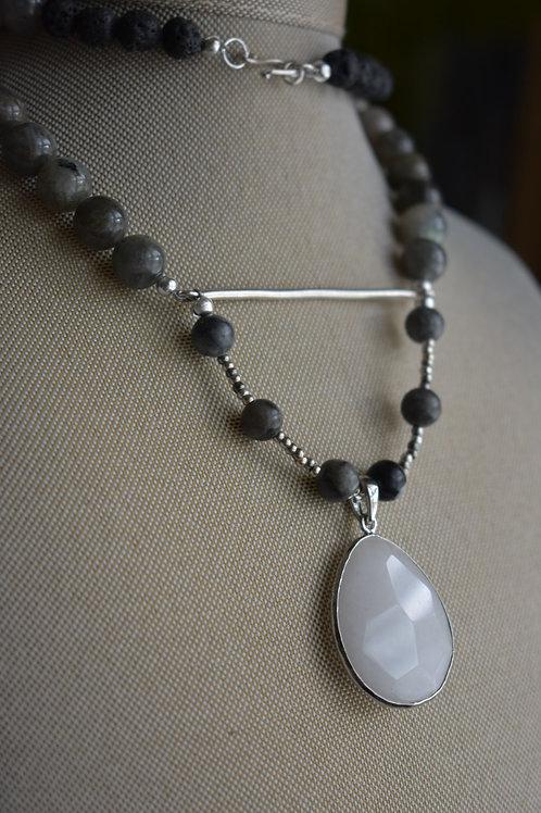 grey labradorite with a silver bar