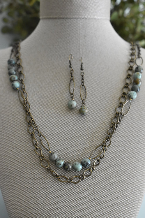 african turquoise & brass links
