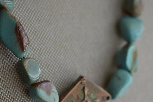 copper diamond compass & turquoise