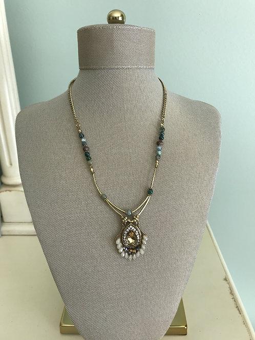 brass pendant with jade & quartz
