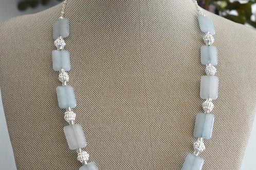 aqua quartz and silver knots