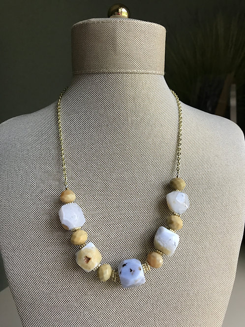 lavender blue agate & gold