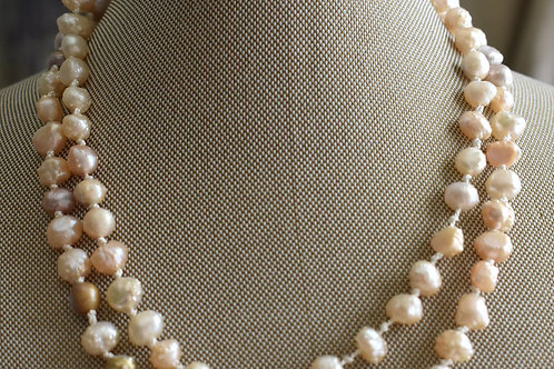 freshwater pearls hand knotted on ivory silk thread