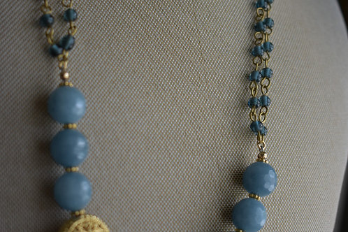 blue jade & gold filigree round