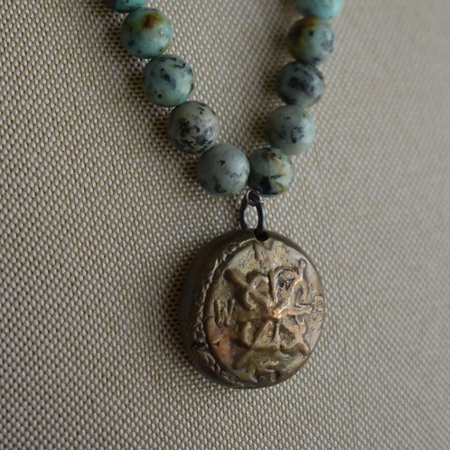 solid bronze compass & african turquoise