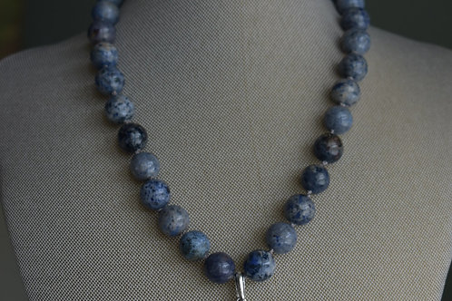 blue dumortierite with silver plated oval