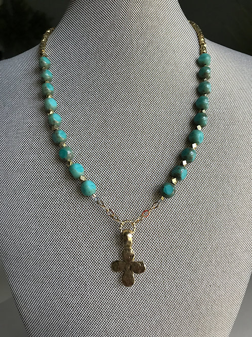 turquoise glass and gold cross