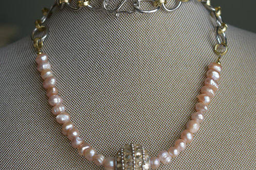 pink freshwater pearls on large link chain