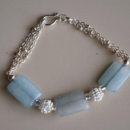aqua quartz with silver knots