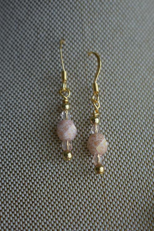 pink czech & glass drop