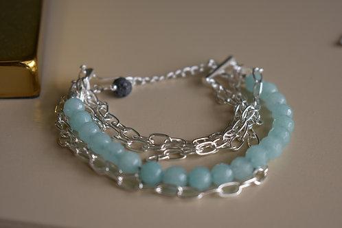 aqua quartz with silver chain links
