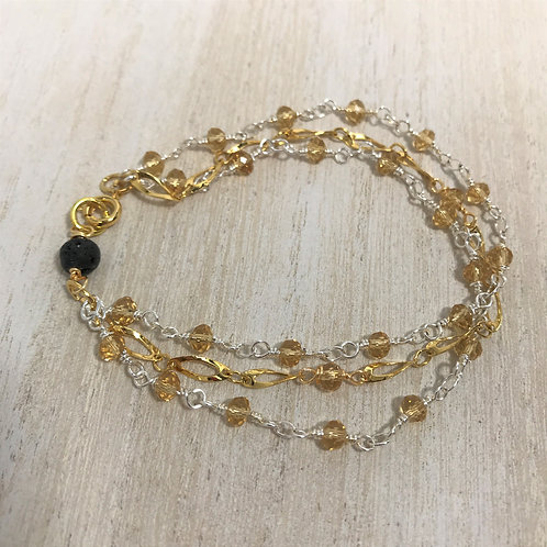 citrine & gold triple strand