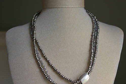 grey luster with sterling silver tube