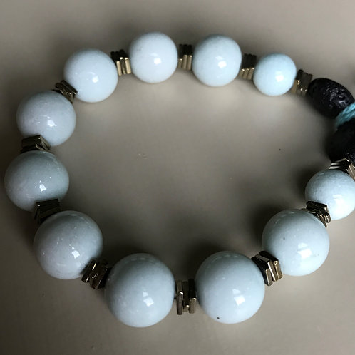 pale blue jade & hemitite thins