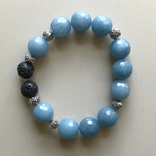 blue jade & silver filigree