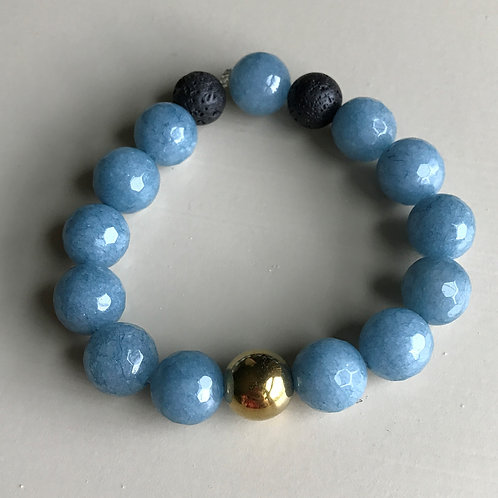 blue faceted jade & gold pearl
