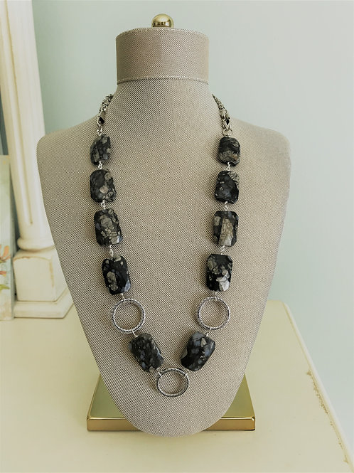 black opal rectangles with silver loops