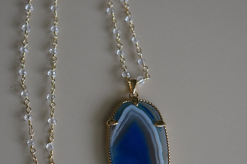 blue water drop with adjustable length rosary