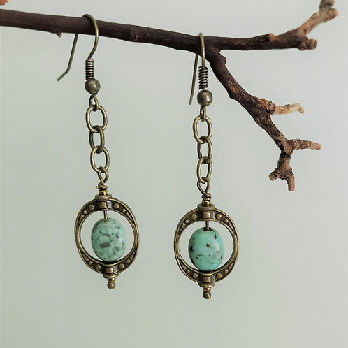 african turquoise in brass hoops